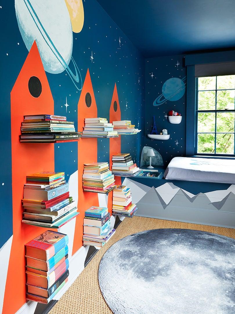 Kids room with rocket shelves