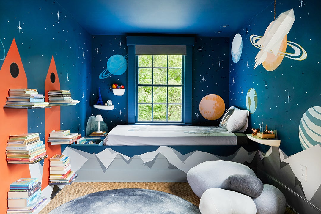 Planet-themed kids room