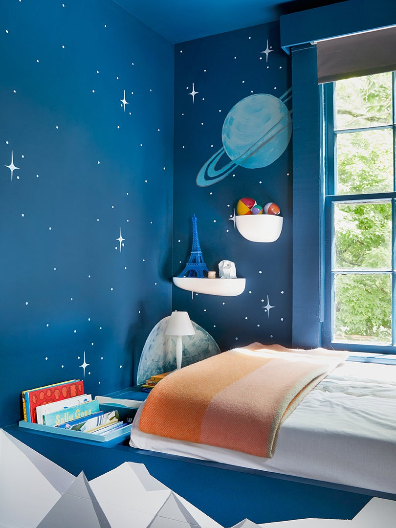 Stars and planets themed kids room
