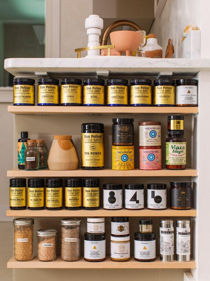 Wellness powders on shelves