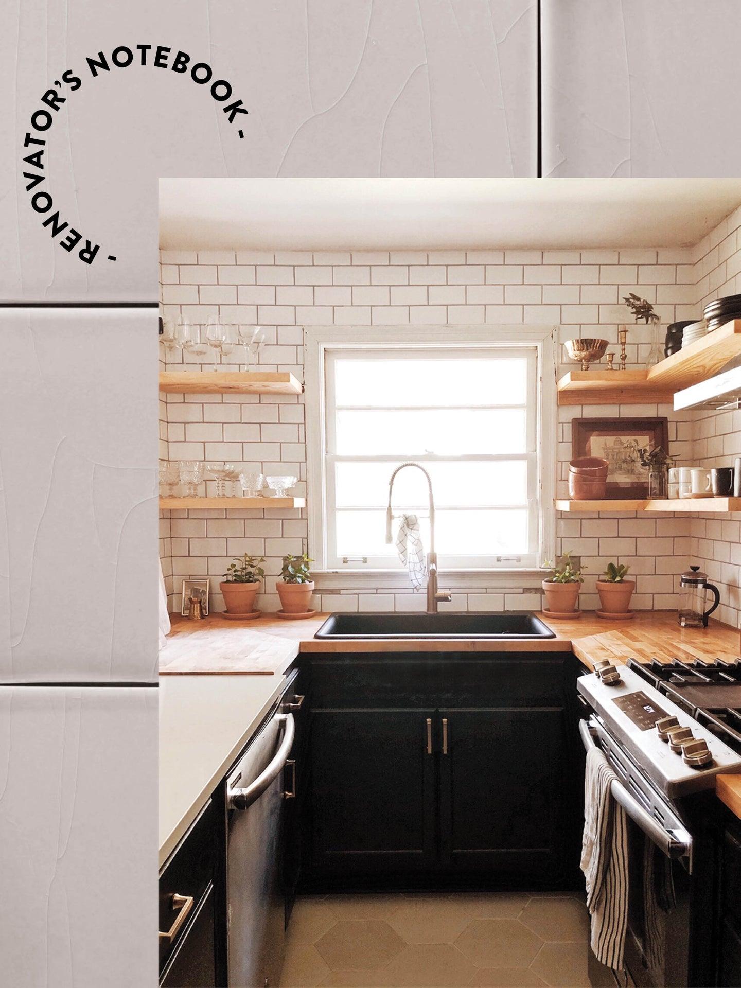 u shaped kitchen wiht butcher block