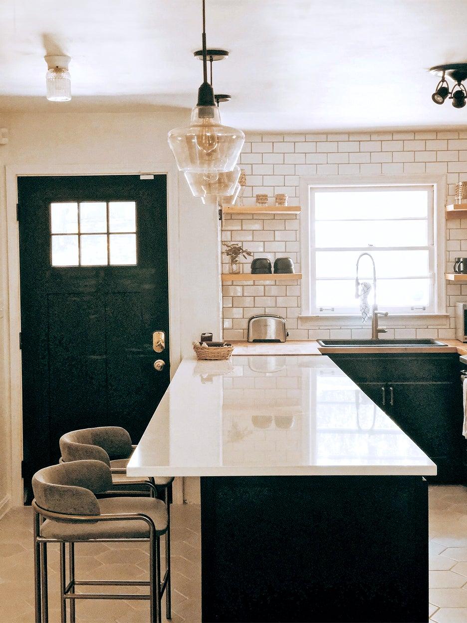 white kitchen peninsula