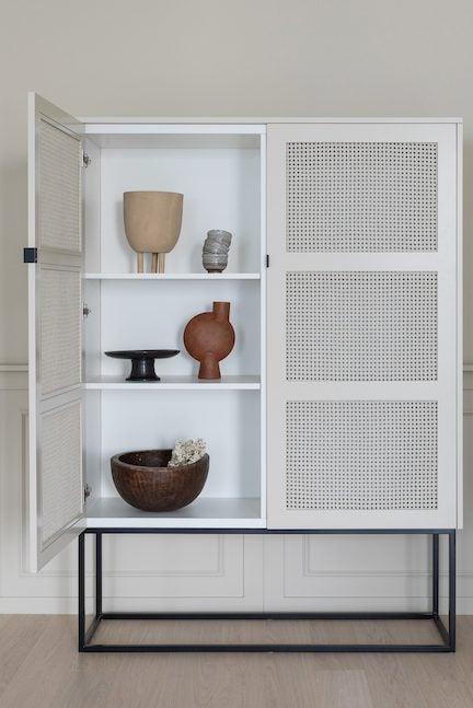white cane cabinet