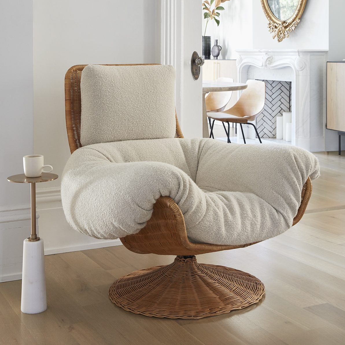 cozy white chair