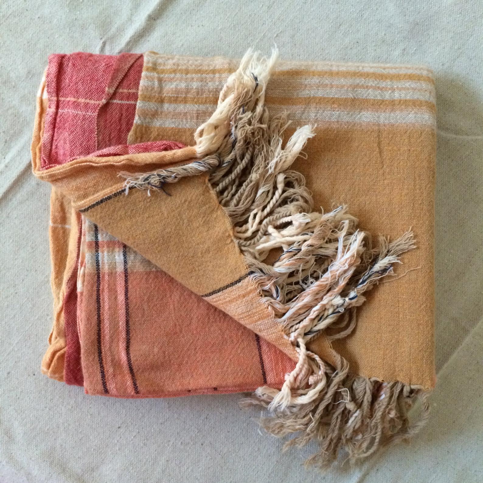 Fanny – Peach _ Orange Striped Beach or Picnic Blanket