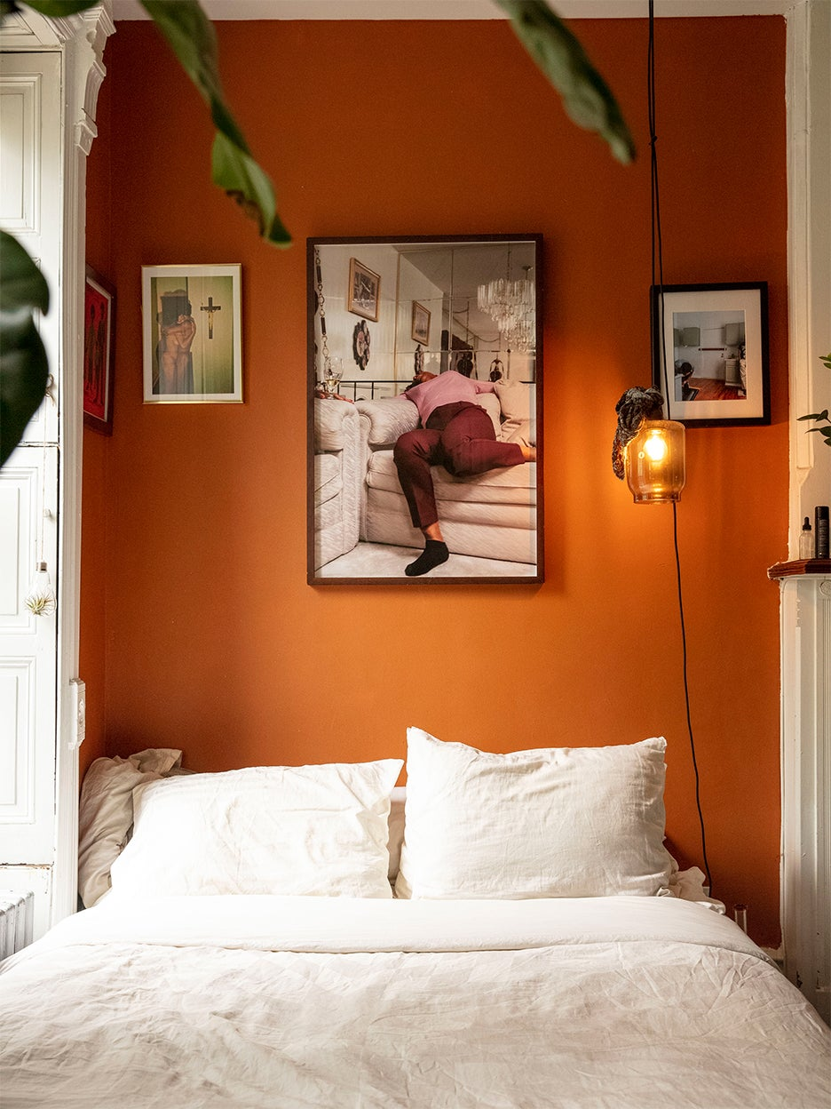 Orange wall with photograph