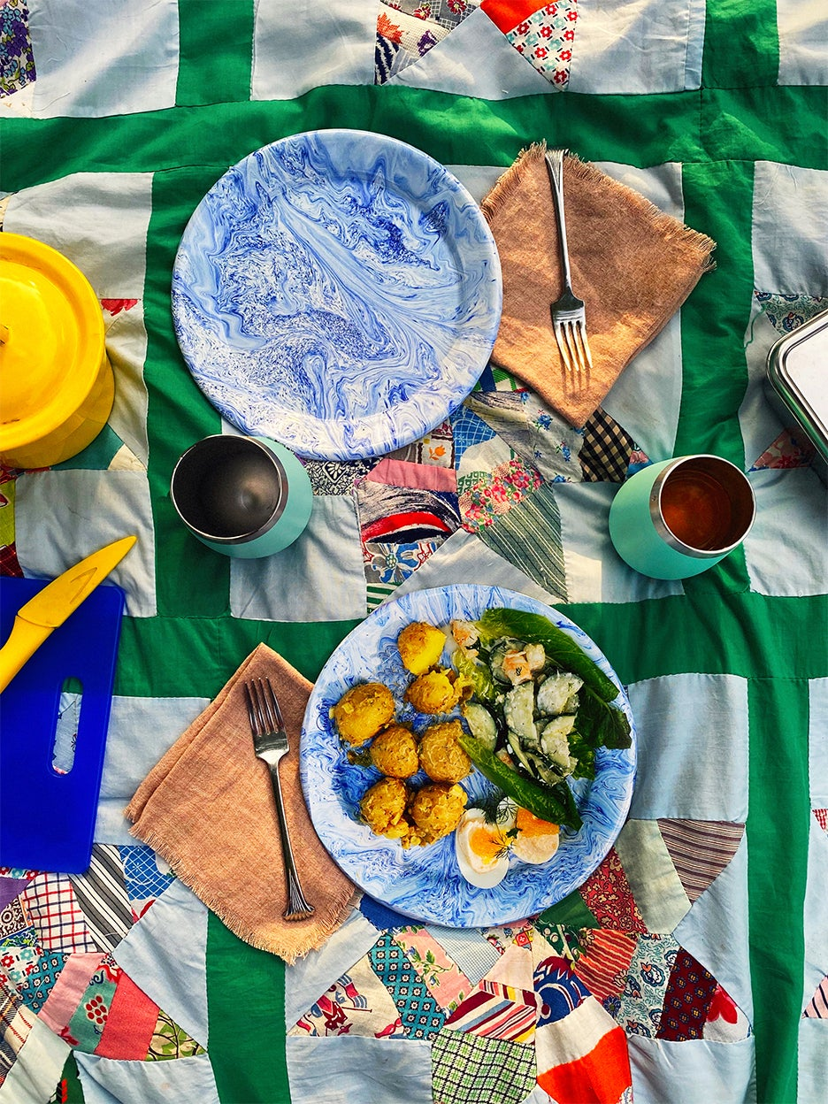 Picnic spread on quilt