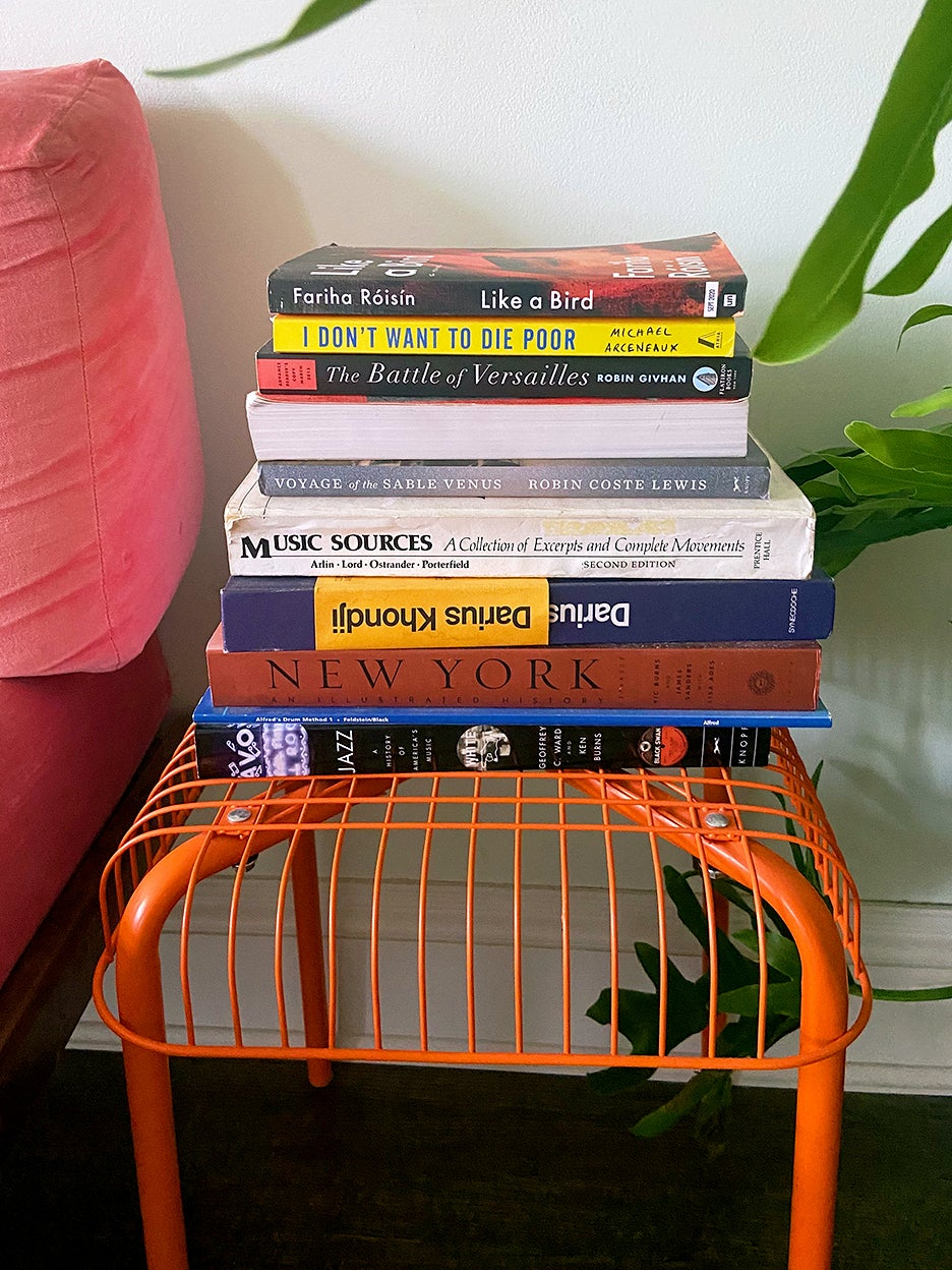 stool with books stacked on top