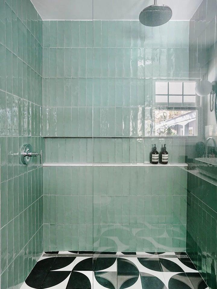 mint green tiled shower nook