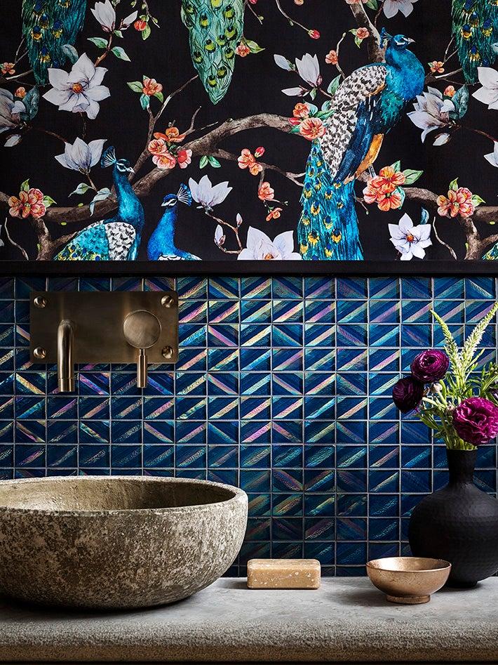 iridescent tile backsplash chinoiserie wallpaper behind sink