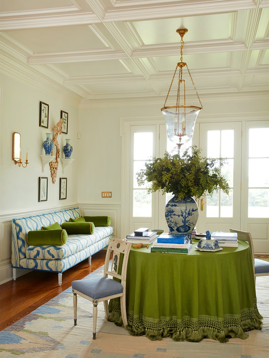Traditional olive green skirted table