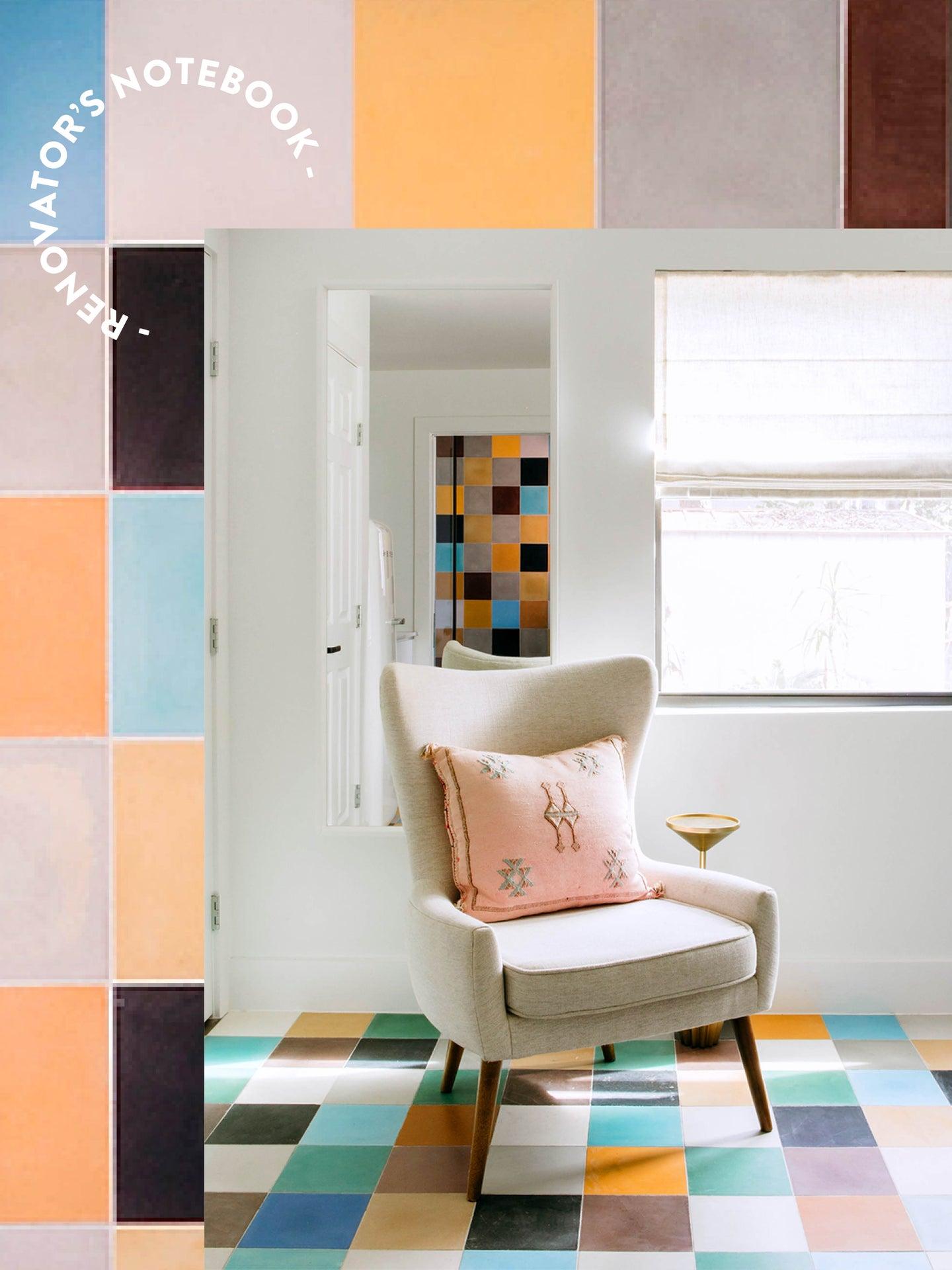 chai r in a corner of tiled bedroom