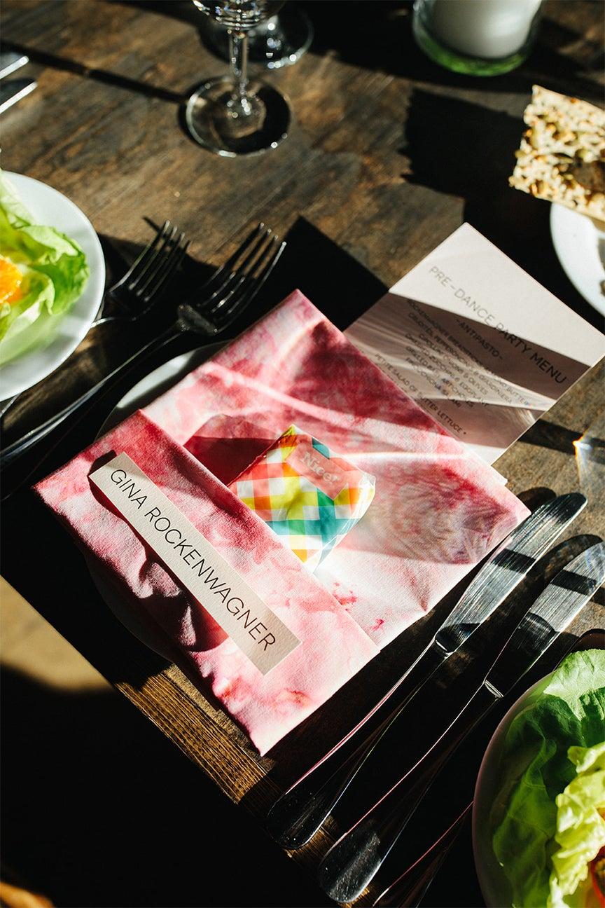 pink dyed napkin