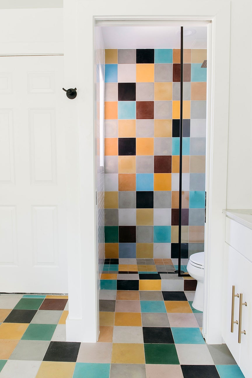 colorful shower tiles