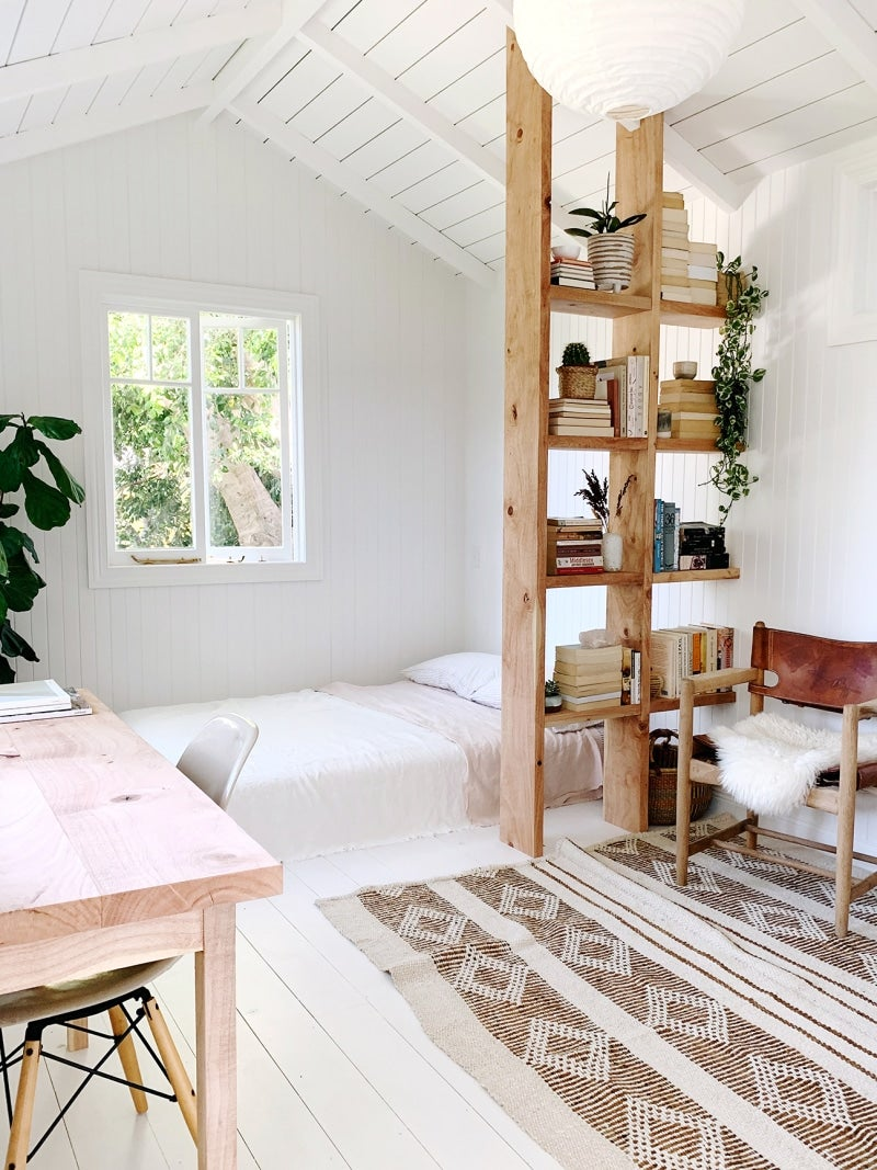 White interior of shed