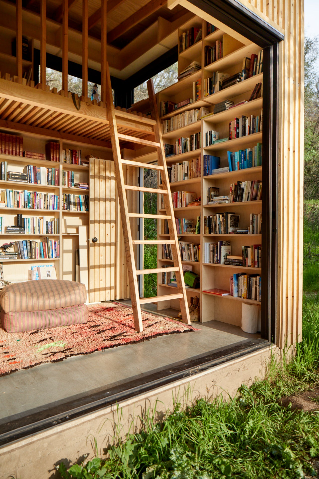 Bookshelf-lined interior of shed
