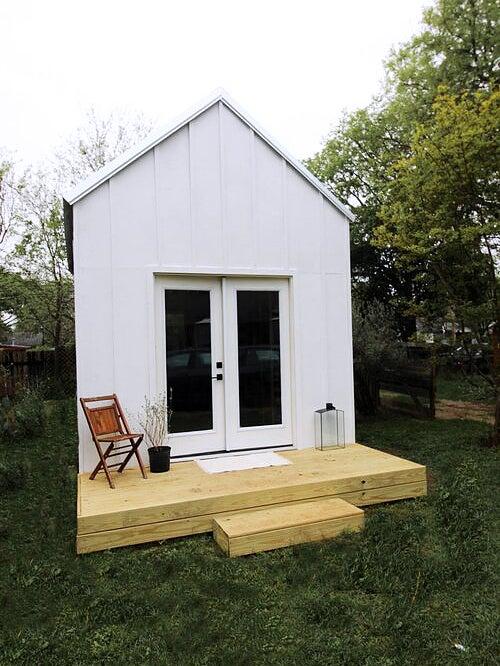 White backyard shed