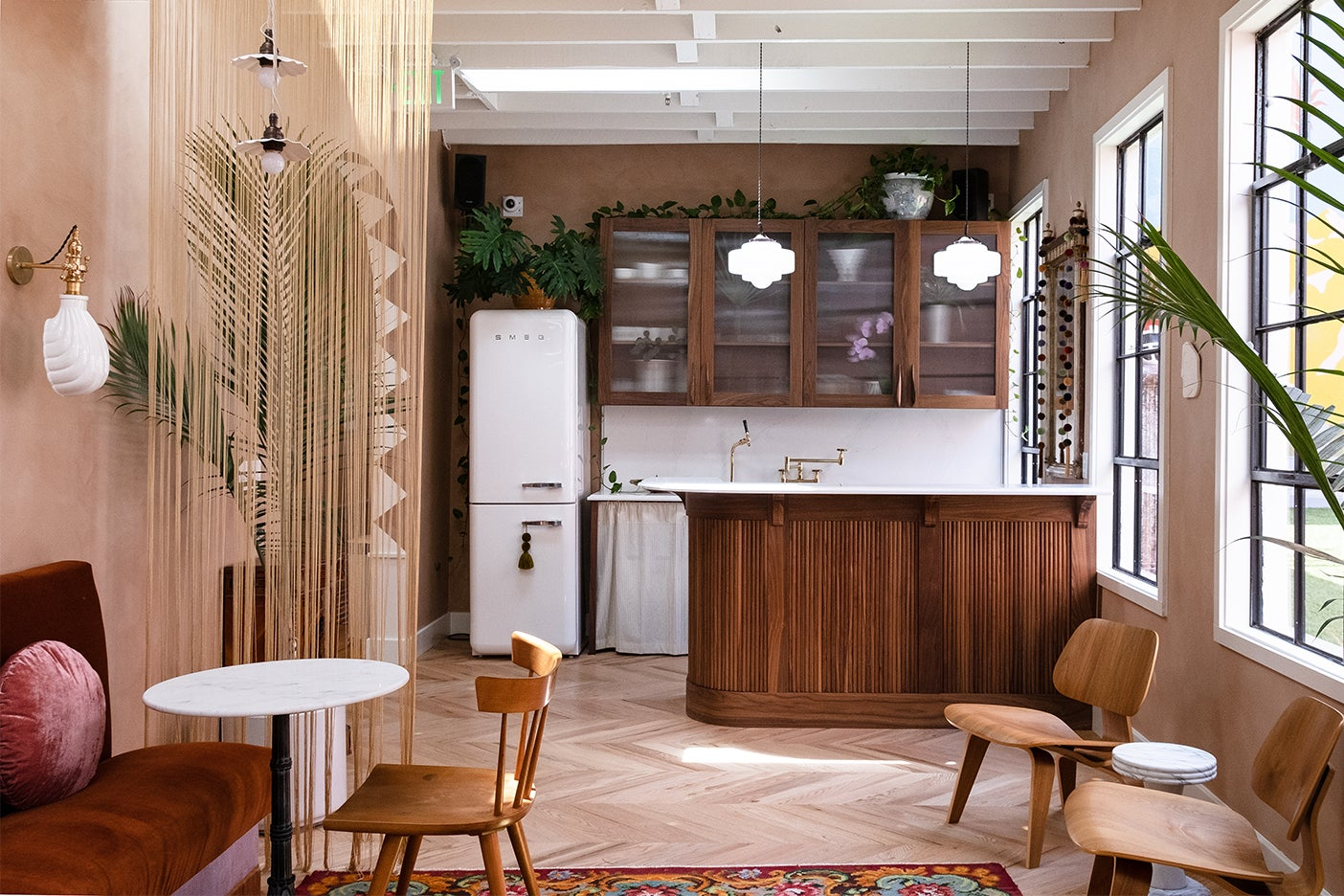kitchen with wood ribbed island