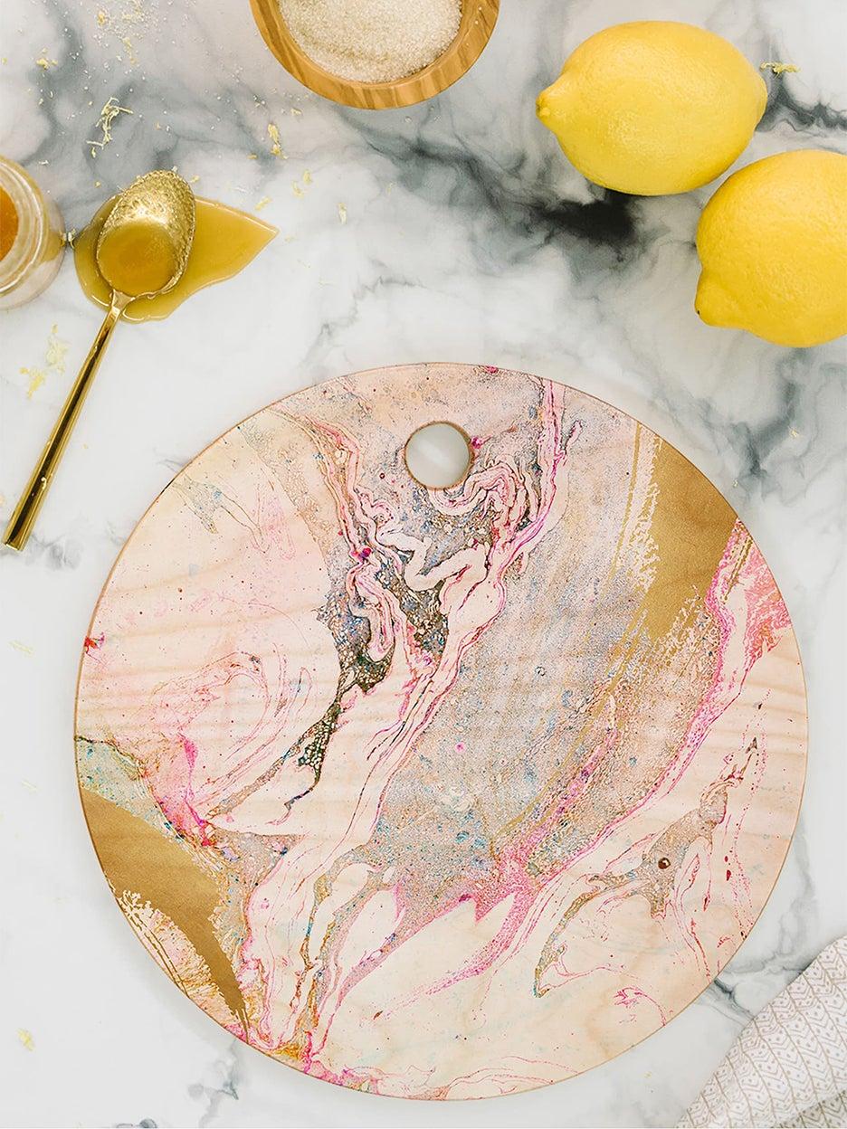 pink swirl cutting board