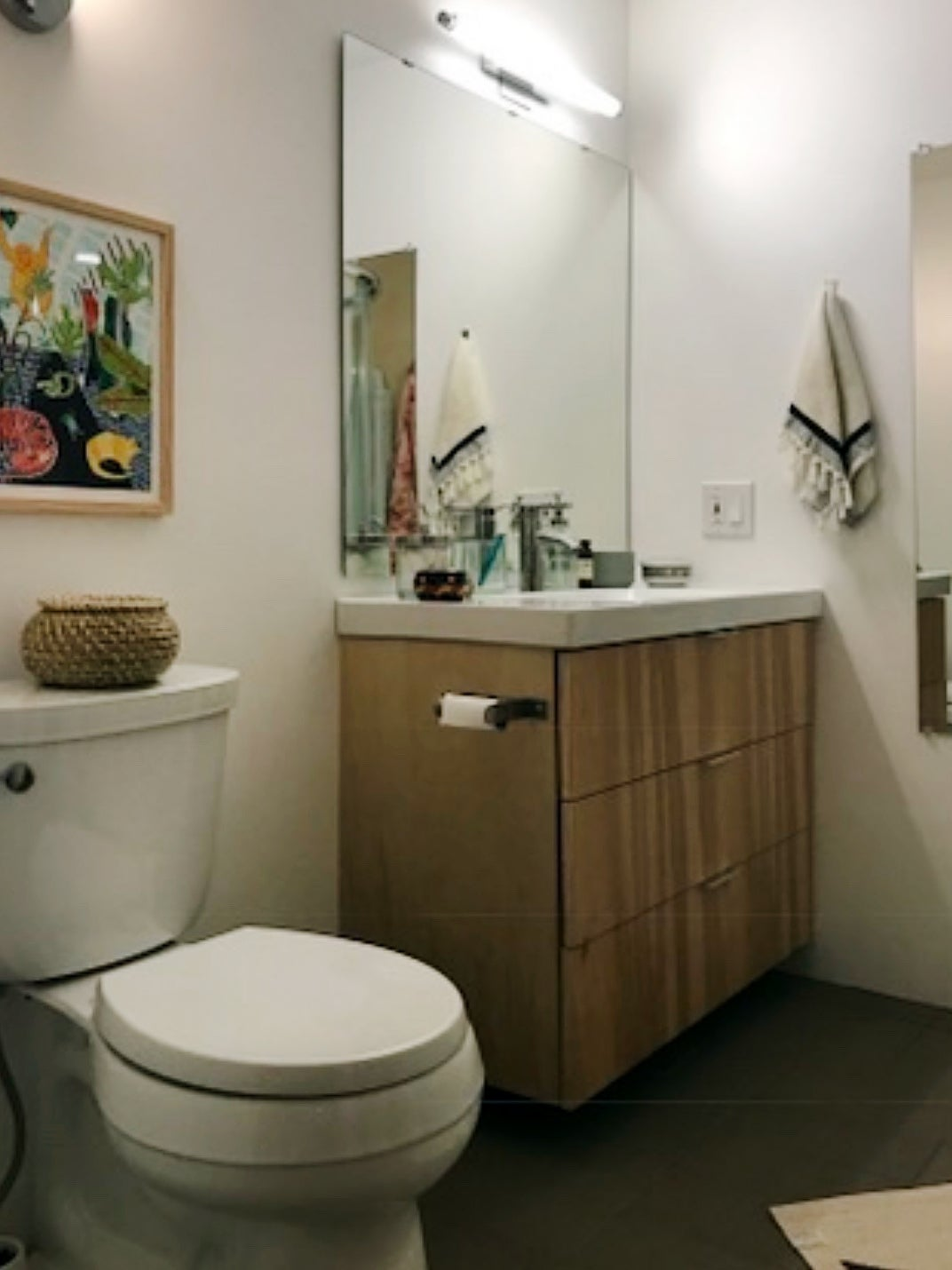 dated neutral colored bathroom
