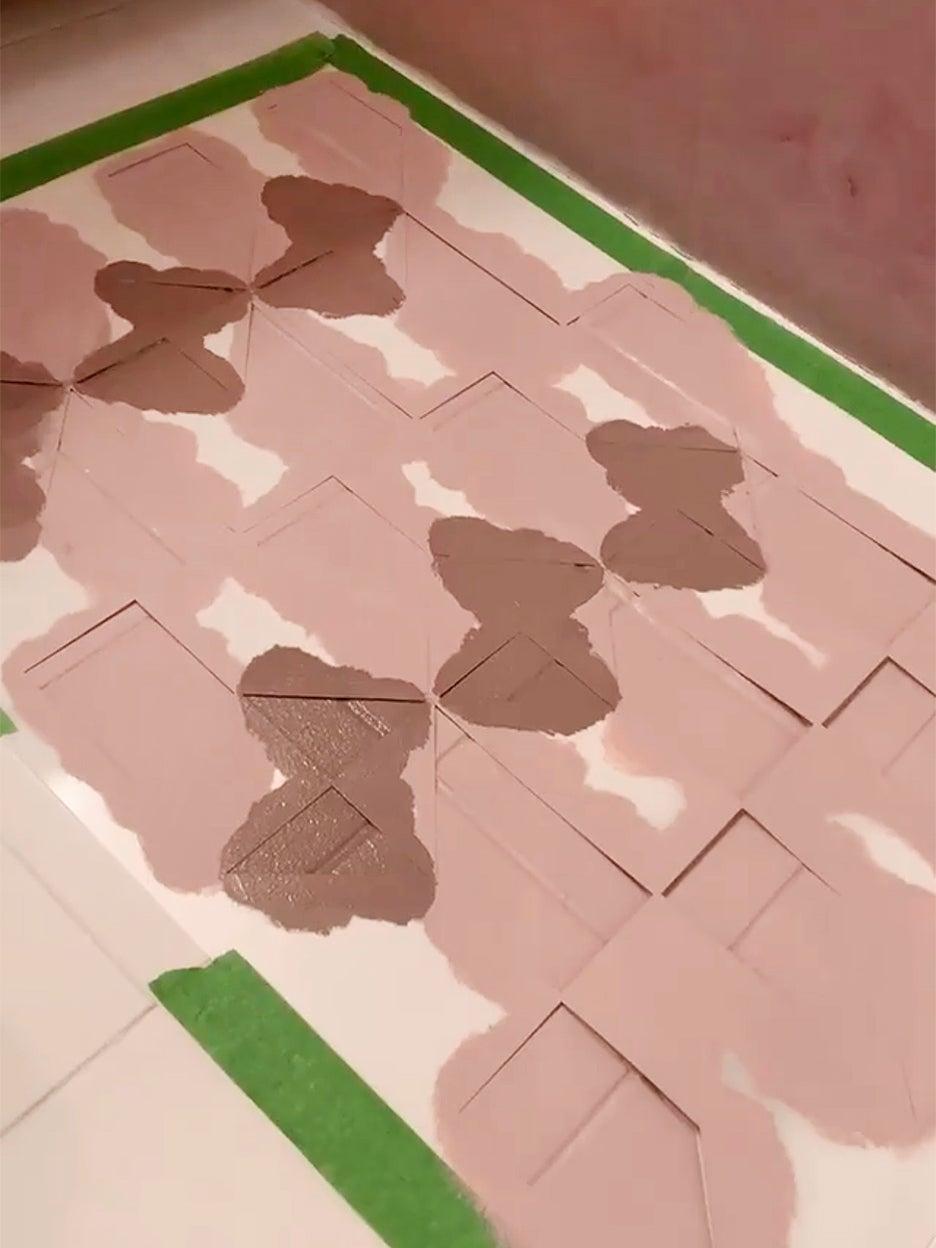 DIY painted floor tile