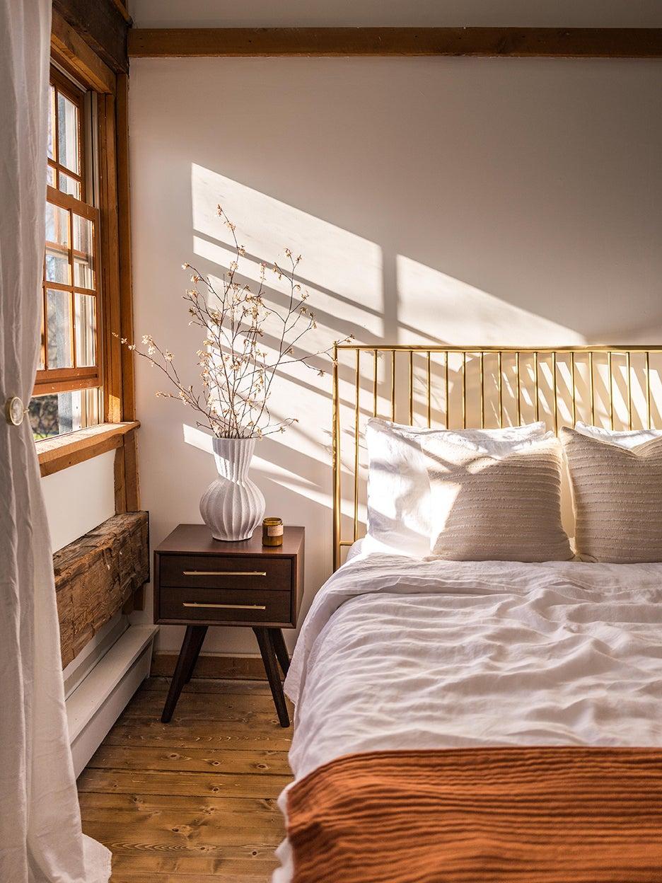 Light streaming through bedroom window