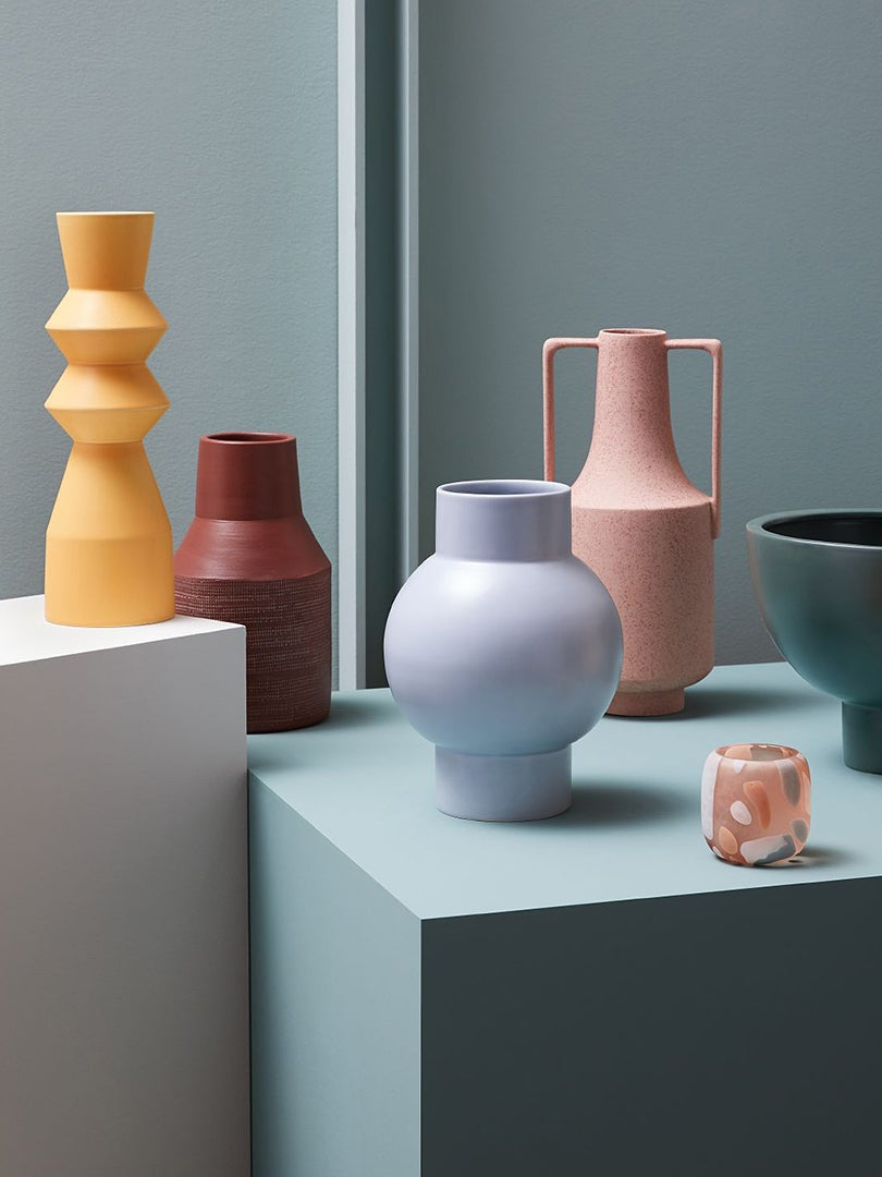 colorful sculptural vases