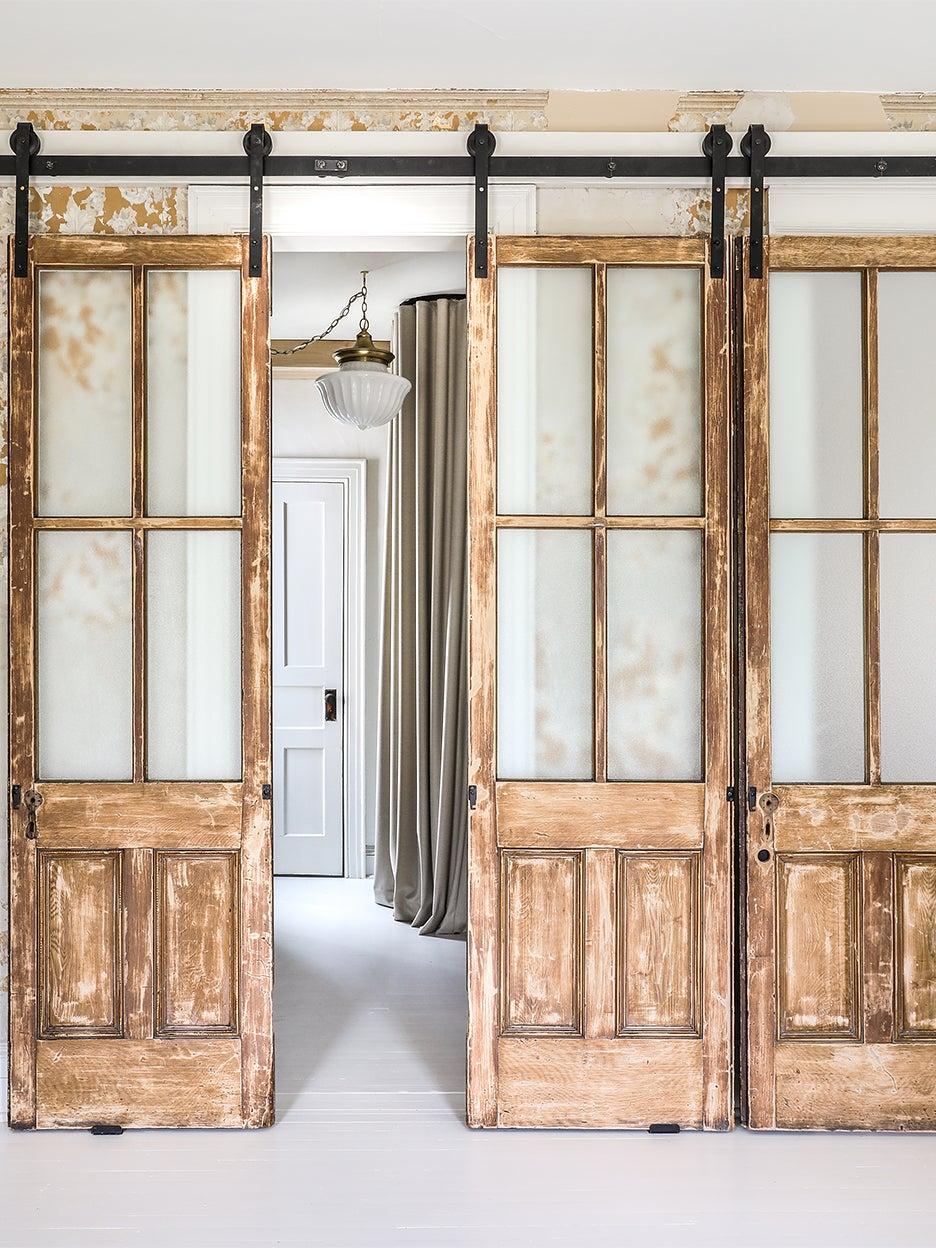 reclaimed library doors on slider