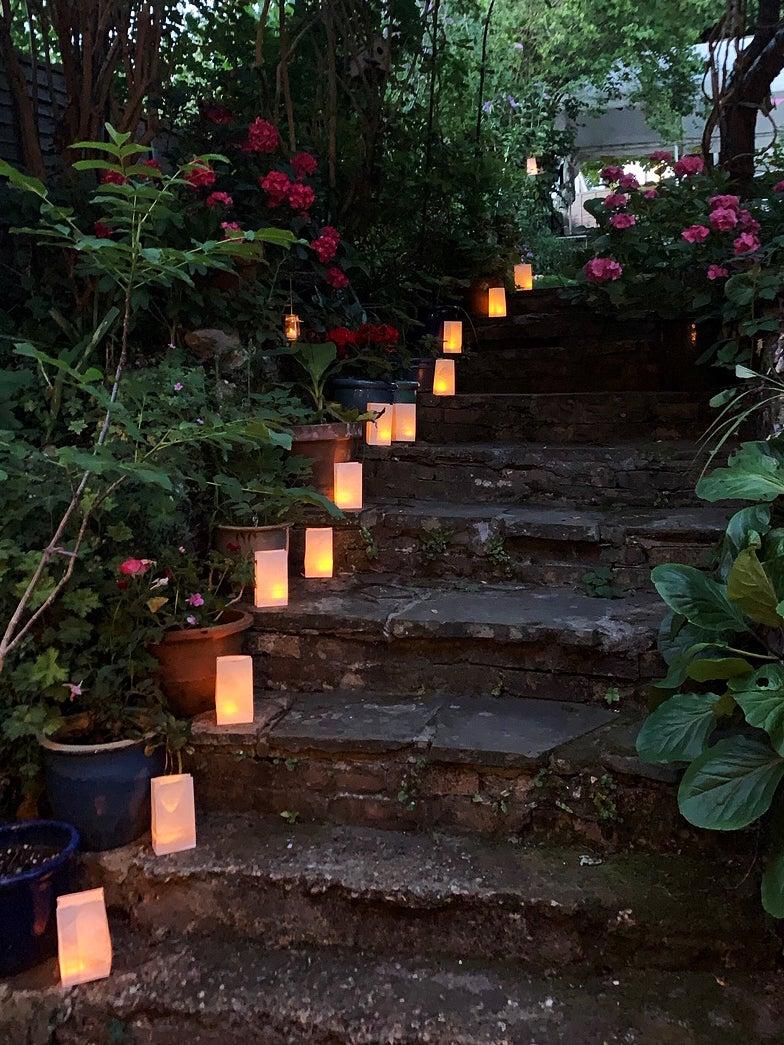 paper lanterns lining steps outside