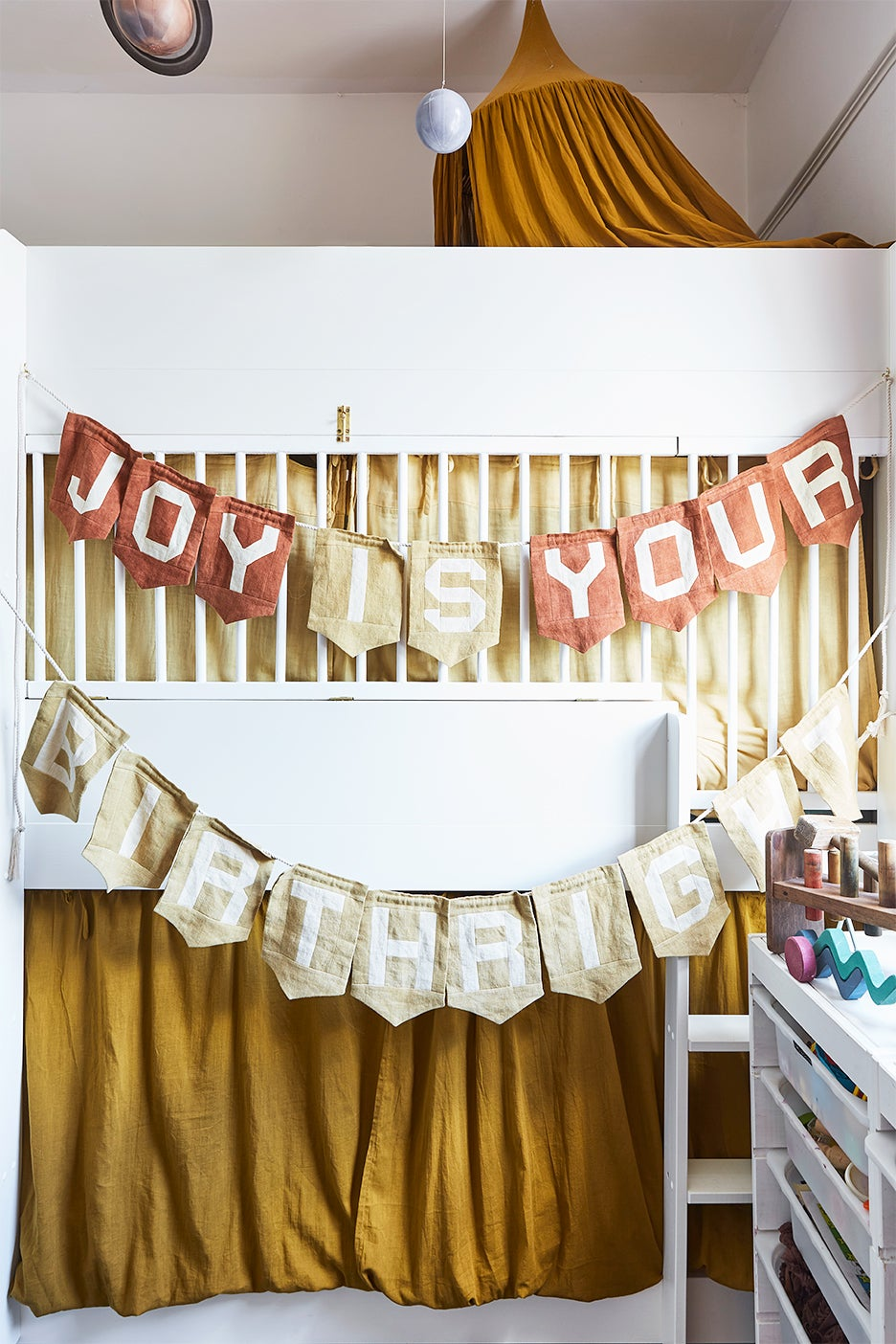 bunk bed with banner