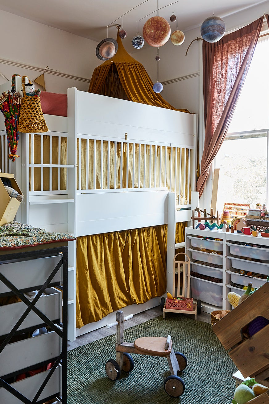 bunk bed clad in fabric