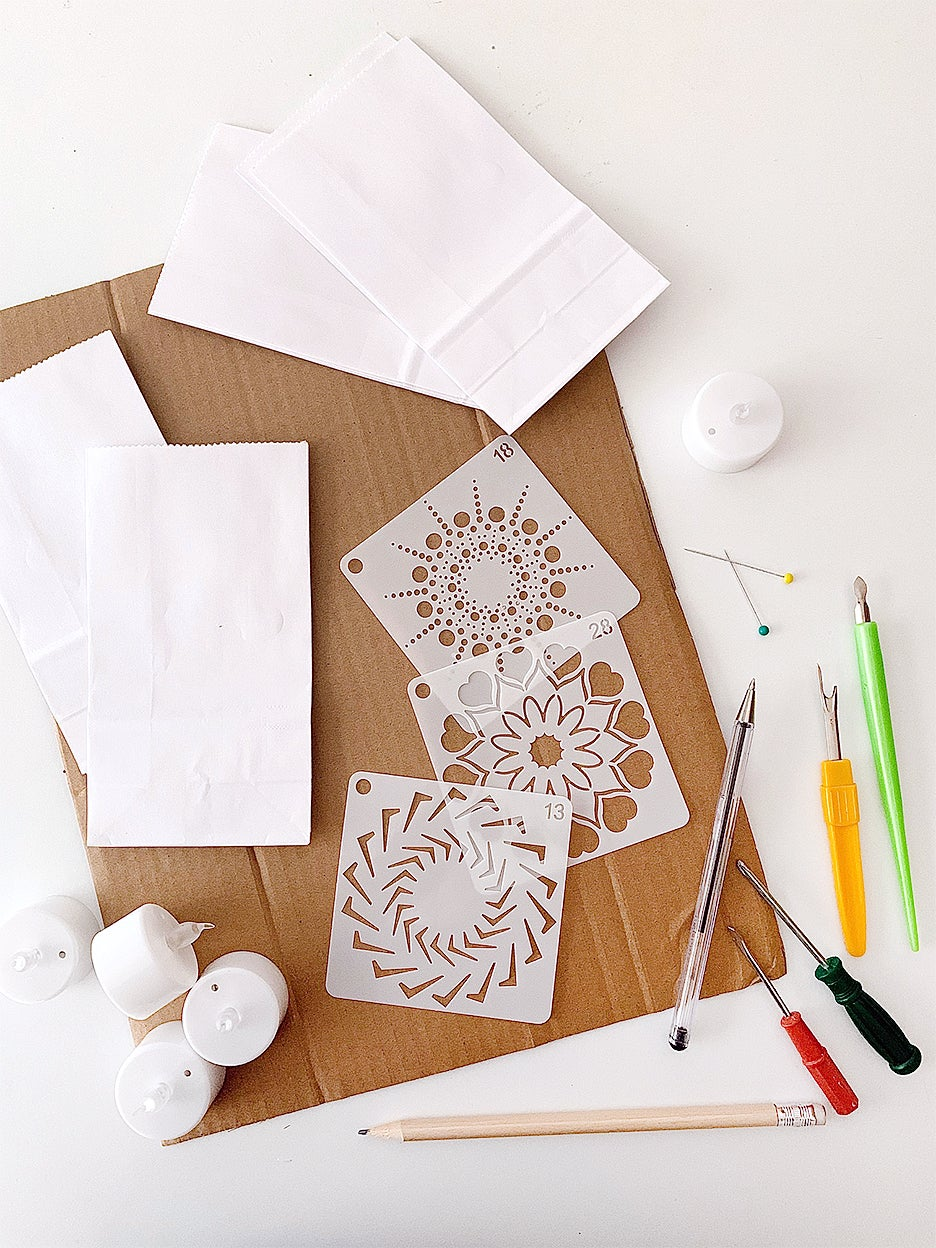 supplies for white paper bag craft