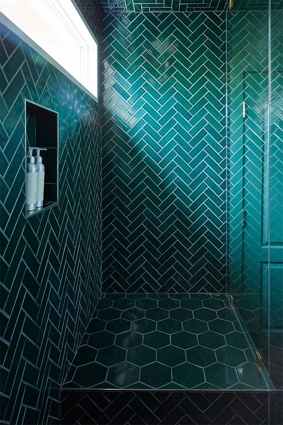 emerald green tile shower nook