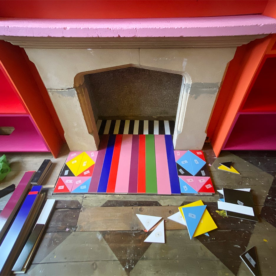colorful tiled fireplace process photo