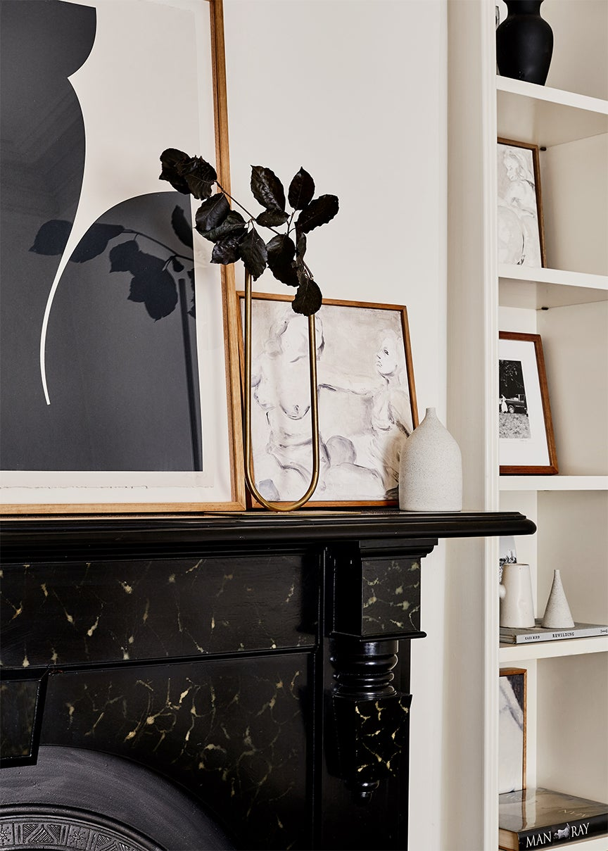 Mantel with art