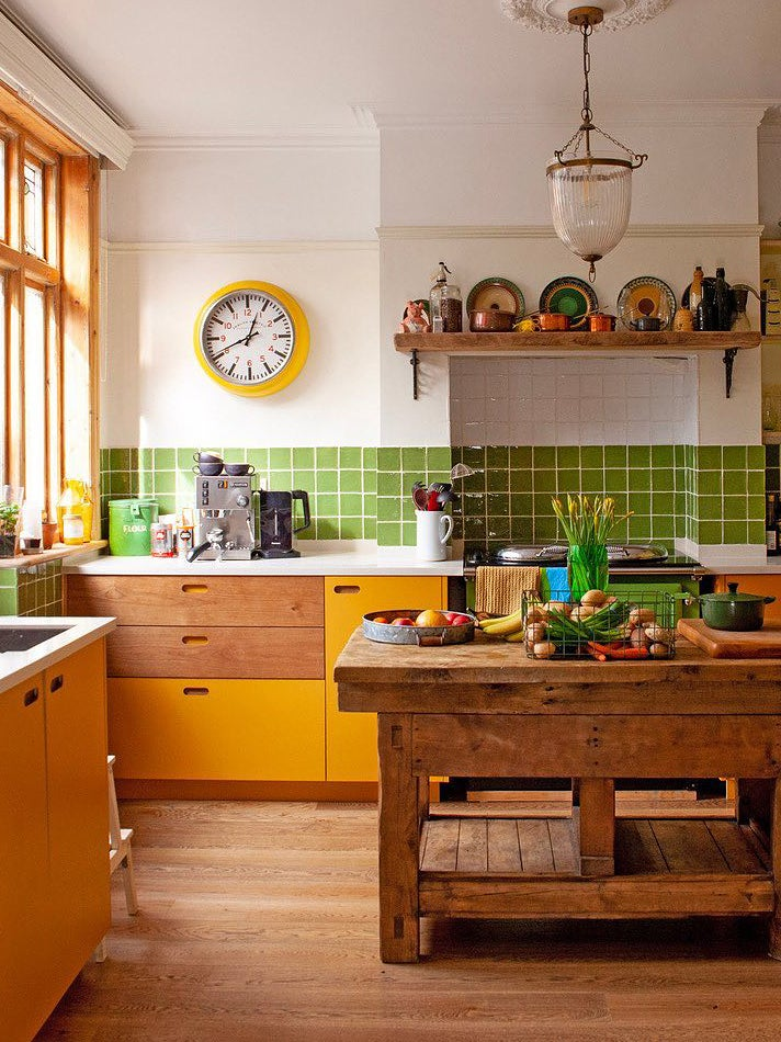 yellow and green kitchen