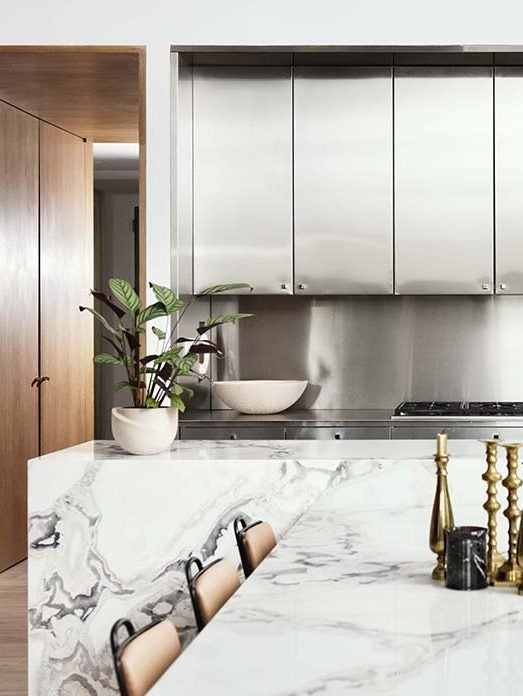 steel and white kitchen
