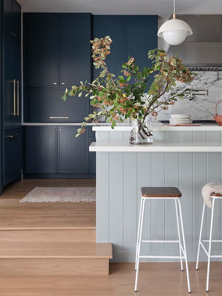 dark blue cabinets