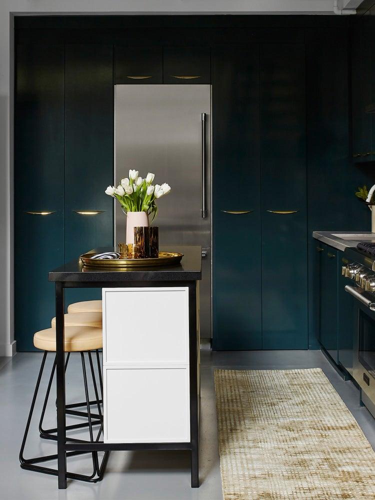 dark green tall cabinets
