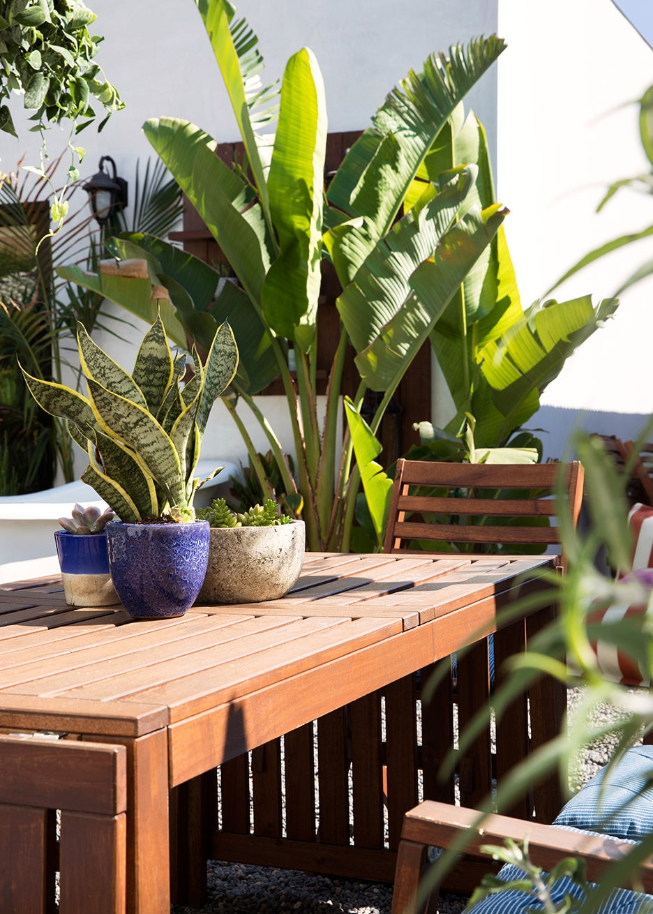 outdoor dining table with pots on top