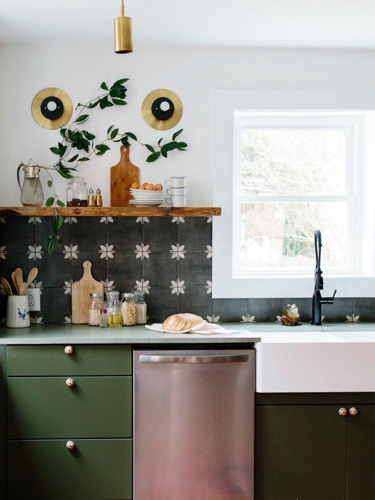 dark green cabinets