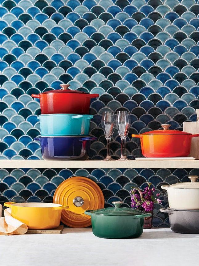 cookware on an open shelf