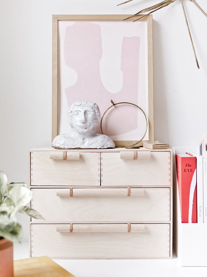 plain wood dresser with large handles