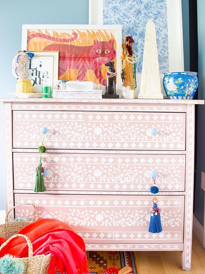 pink stencil dresser