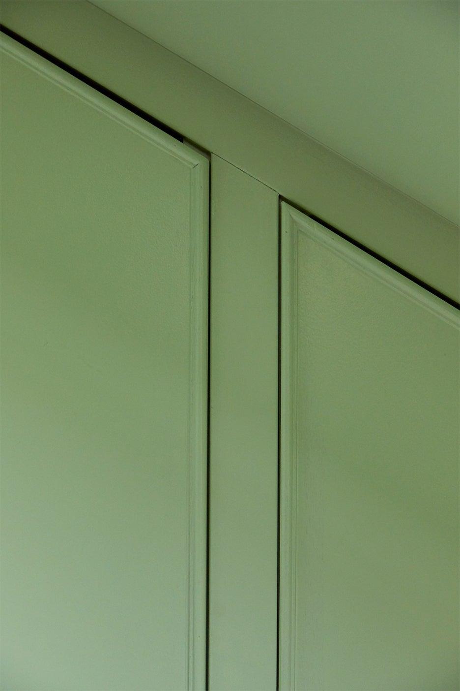 Pistachio paint closet doors