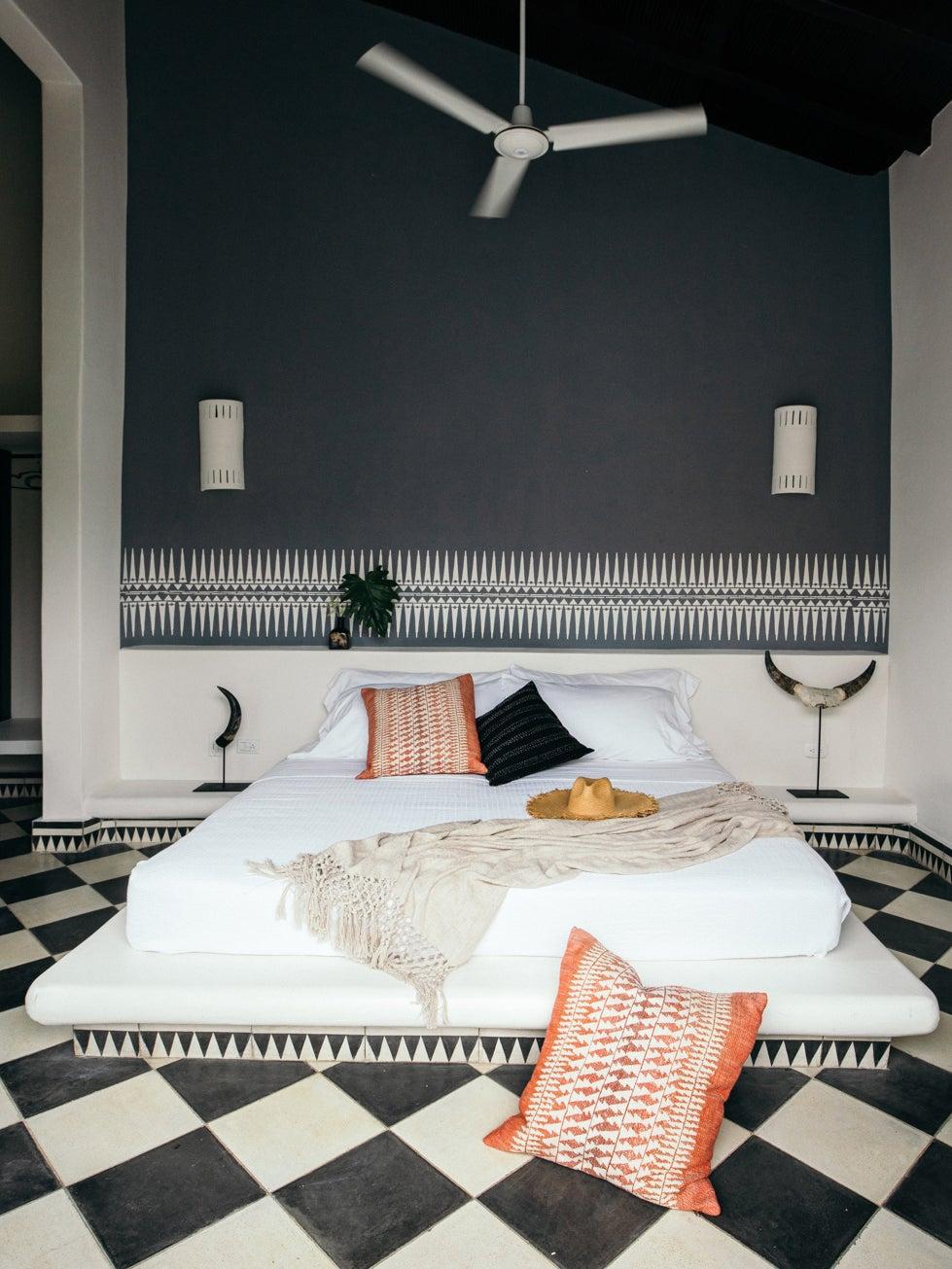 black and white bedroom floor