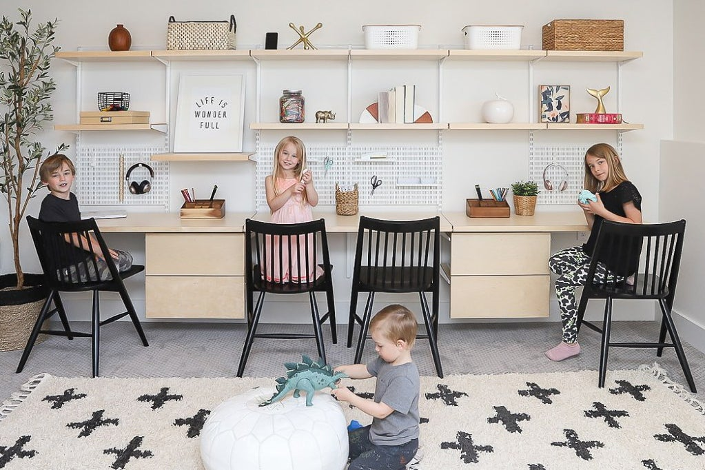 Container Store Elfa kids homeschooling station