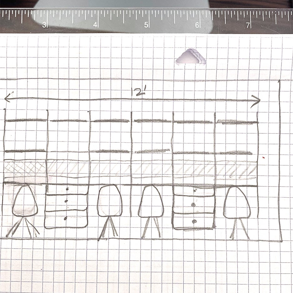 Container Store Elfa workspace sketch