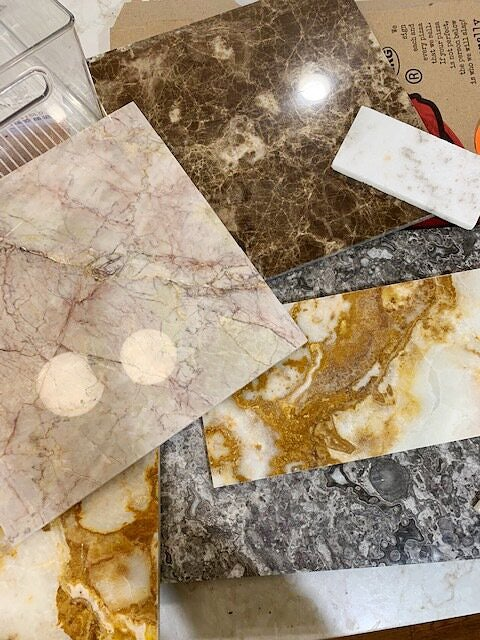 slabs of marble tile