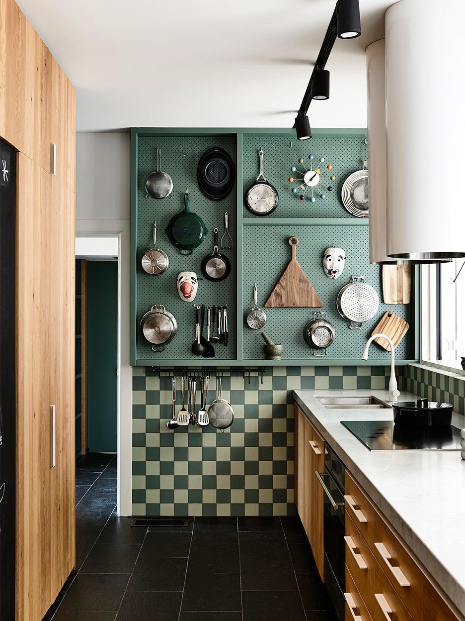 greeen kitchen pegboard